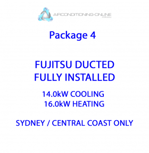 FULLY INSTALLED 14.0kw(C)/16.0kw(H) FUJITSU DUCTED ARTG54LHTC – Package 4