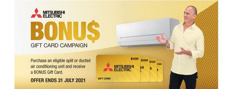 2021 mitsubishi electric bonus gift card campaign
